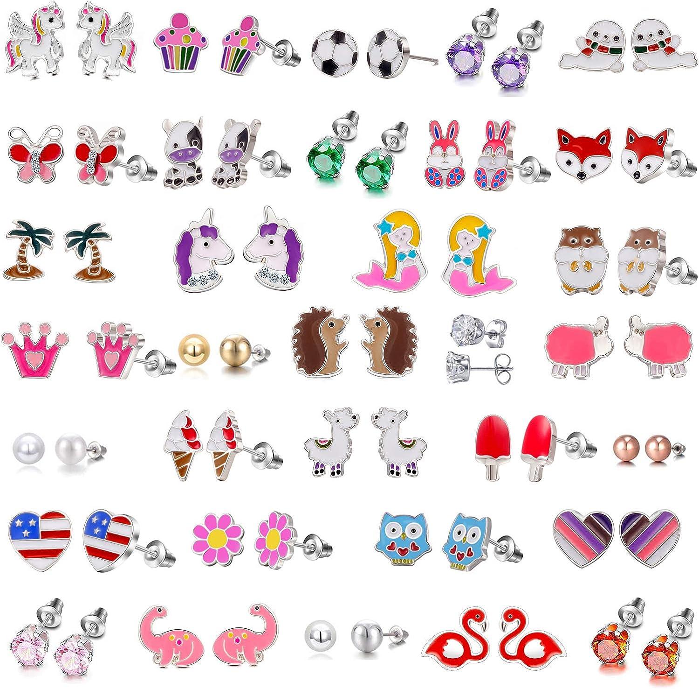 33 Pairs Hypoallergenic Earrings for Girls Sensitive Ears Studs Set - Butterfly Earrings Set for Kids - Mermaid Earrings CZ Stud Earrings for Little Girls - Animal Earrings for Teen Girls