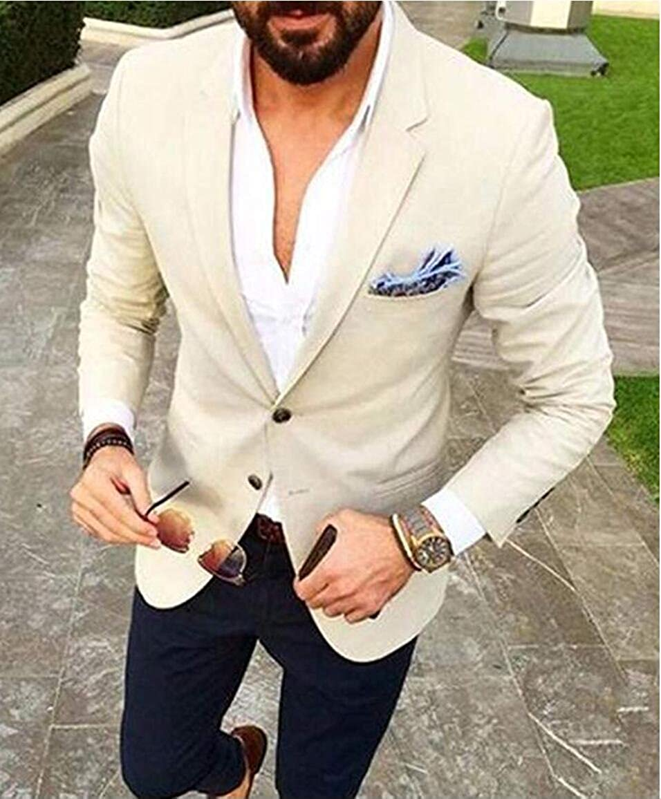 Mens Slim Fit Peak Lapel Beige Suit 2 Pieces 2 Buttons Blazer Weddding Suits for Men