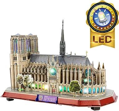 CubicFun Puzzle 3D LED Notre Dame de Paris Rompecabezas 3D Kits de Edificio Modelo Puzzles 3D para Adultos y Adolescentes, 149 Piezas: Amazon.es: Juguetes y juegos