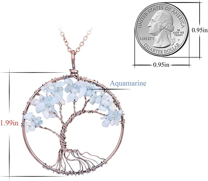 Tumbled Natural Raw Semi Precious Aquamarine Stone Tree of Life Pendant Necklace Handmade Crystal Healing Chakra Gemstone Birthstone Family Root Wire Wrapped Tree Life Jewelry Necklace for Mother
