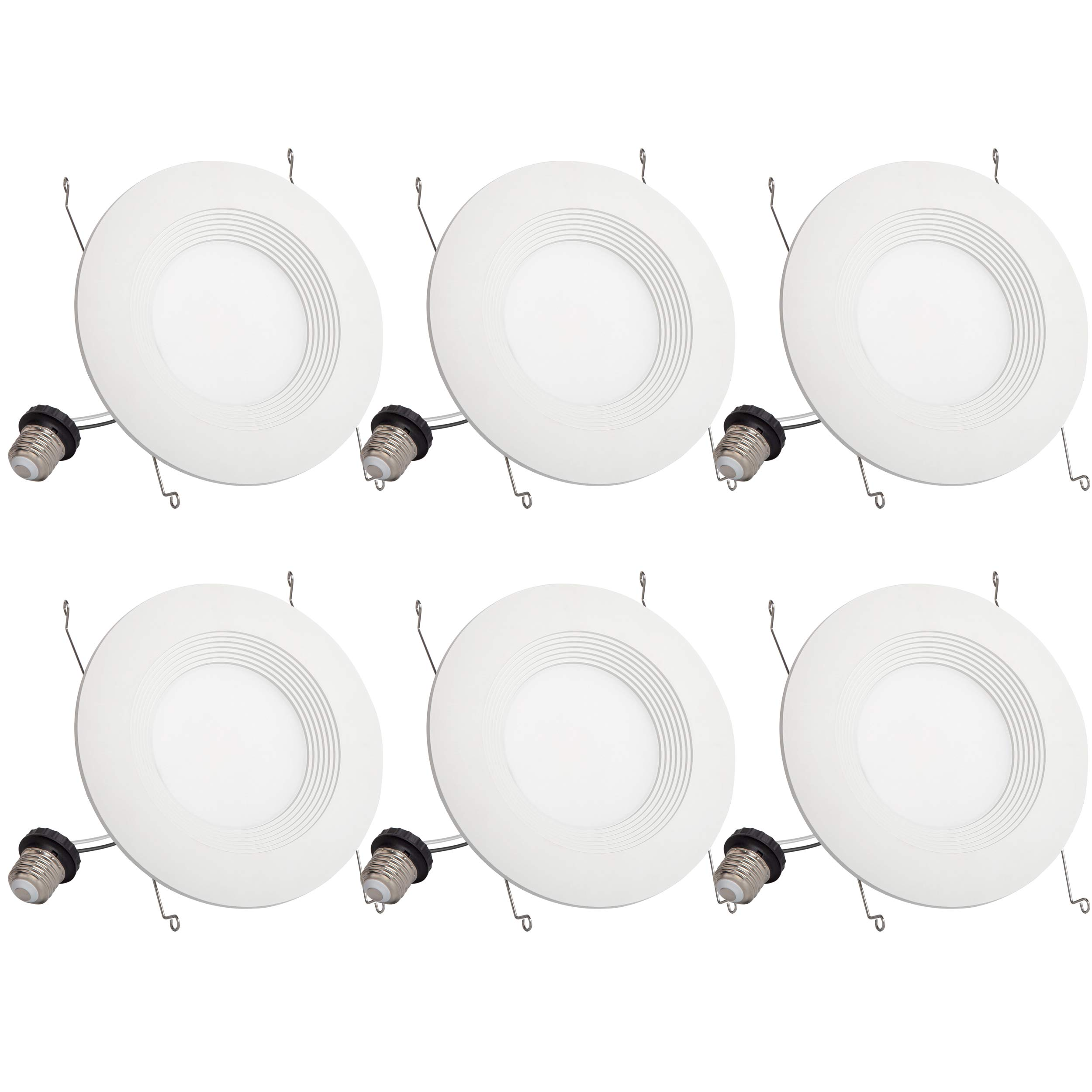 6 Pack 5/6 Inch 1000 Lumen Led Recessed Downlights Dimmable LED Downlight Retrofit Fit 5000K Daylight Ceiling Light 13W (120W Equivalent) UL and Energy Star Certified Quick Easy Can Install