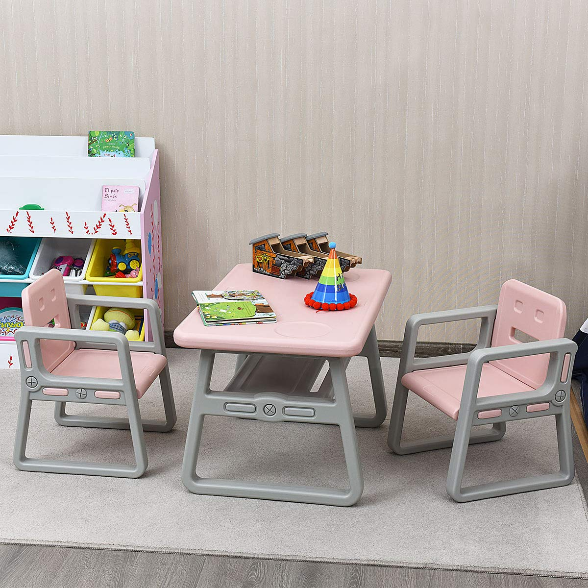 Costzon 3 Piece Kids Table and 2 Chairs Set, Learning Activity Play Table, Baby Dining Table, Children Desk Chair for 1-3 Years, Kids Furniture Set (Pink) by Costzon (Image #2)