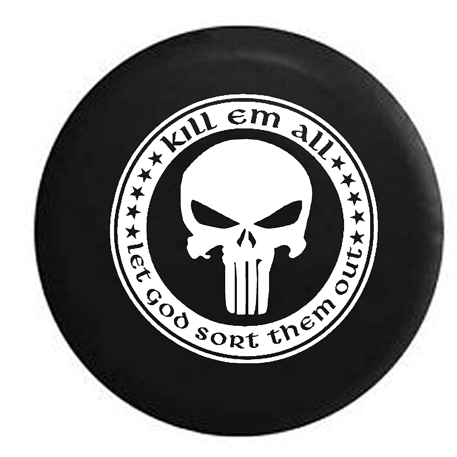 Camo Kill Em All Let God Sort Them Out Punisher Skull Shield Military ISIS Spare Tire Cover OEM Vinyl Black 33 in Pike Outdoors