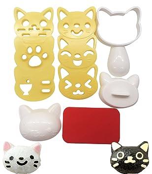 Juego de moldes de bola de arroz, diseño de gato con dibujos animados para manualidades, Sushi Bento Nori, molde de arroz para cocina: Amazon.es: Hogar