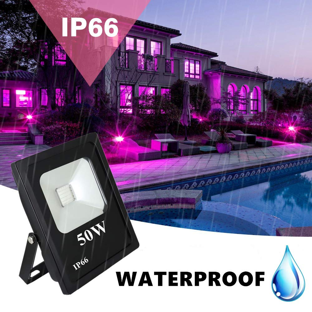 RONSHE UV LED Black Light, 50W Outdoor Ultra Violet LED Flood Light, IP66 Waterproof Blacklights for Dance Party, Neon Glow, Stage Lighting, Body Art Paint, Glow in The Dark Party Supplies by RONSHE (Image #6)
