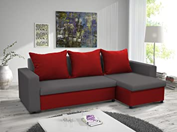Mb Moebel Kleines Ecksofa Sofa Eckcouch Couch Mit Schlaffunktion Und Zwei  Bettkasten Ottomane L