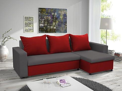 Kleines Ecksofa Sofa Eckcouch Couch Mit Schlaffunktion Und Zwei Bettkasten  Ottomane L Form Schlafsofa Bettsofa