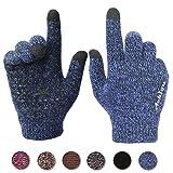 Achiou Winter Warm Touchscreen Gloves for Women Men Knit Wool Lined Texting (Blue, L)