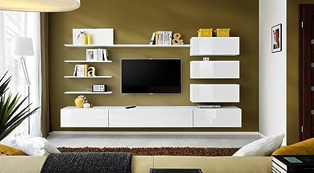 BMF ITALY Modern HIGH GLOSS Living Room Bedroom STUDIO FLAT - White gloss wall units living room
