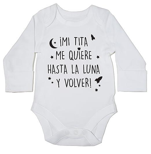 HippoWarehouse Mi tita me quiere hasta la luna y volver! body manga larga bodys pijama niños niñas unisex: Amazon.es: Ropa y accesorios
