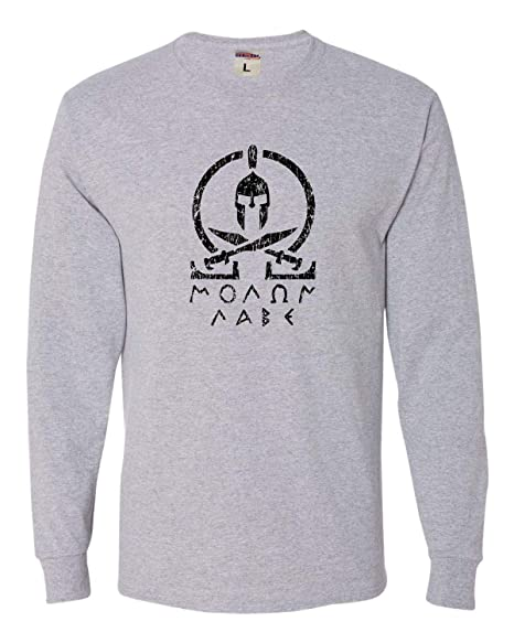 2dafaf2d Amazon.com: Adult Molon Labe Classic Greek Letters Long Sleeve T-Shirt:  Clothing