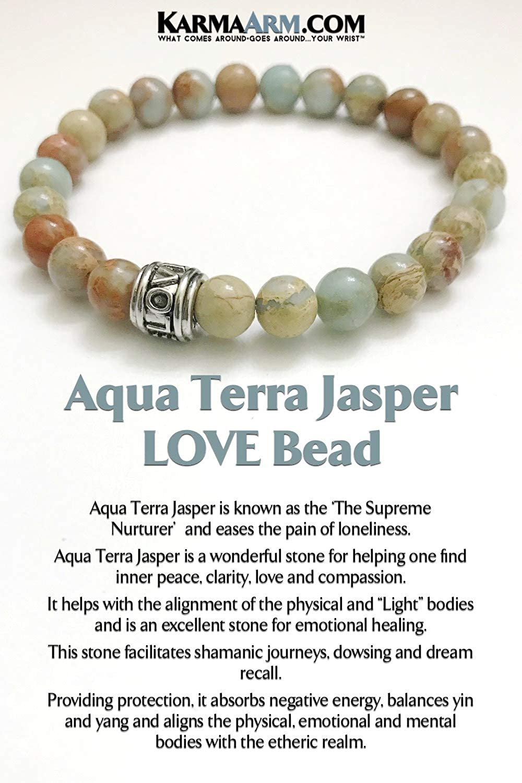 Womens Mens Aqua Terra Jasper KarmaArm Love Bracelets Beaded Meditation Bracelets Spiritual Stretch Mantra Reiki Healing Energy Boho Chakra Wrap Yoga Jewelry /& Gemstone Gifts I AM Loved