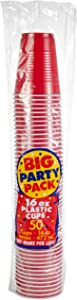 Apple Red Plastic Cups Big Party Pack, 16 Oz., 50 Ct.
