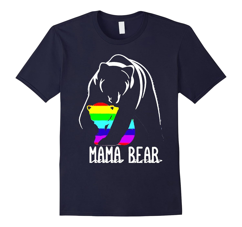 mama bear mum mom gay pride lesbian lgbt flag 2017 t shirt-Vaci