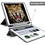 New iPad 9.7 Case 2018 with Pencil Holder,Flexible Soft TPU 6th Generation Case Ultra Slim Trifold Stand Folio Smart Cover for the new 9.7 inch Apple iPad 2018, Grey