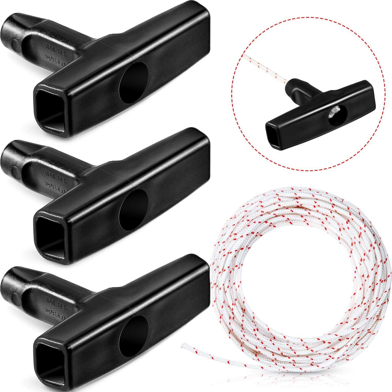Cuerda de Arranque de Retroceso 10 Metros 3,0 mm Cable de Tracción con 3 Piezas Asa de Arranque para Cortacésped Motosierra Recortador Desbrozadora de Borde Partes de Motor