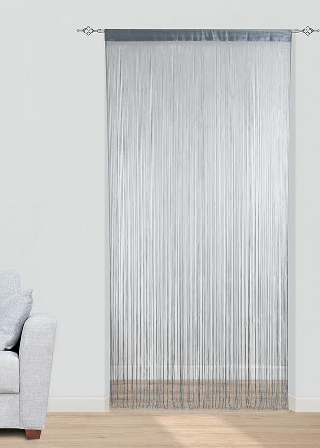 1x Cortina de Hilos Visillo Estor Voile para Puerta Entrada Exterior Divisor de Ambientes, 0,32kg/producto, 100x200CM, Color Gris: Amazon.es: Hogar