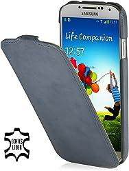 Custodia esclusiva Stilgut UltraSlim in pelle per Samsung Galaxy S4 i9500 e i9505 Old Style Blu oceano