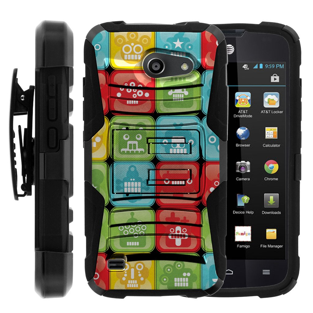 TurtleArmor   Huawei Tribute Case   AT&T Fusion 3 Case [Hyper Shock] Armor Solid Hybrid Cover Stand Impact Silicone Holster Belt Clip Robot Android Design - Blocked Robot Heads