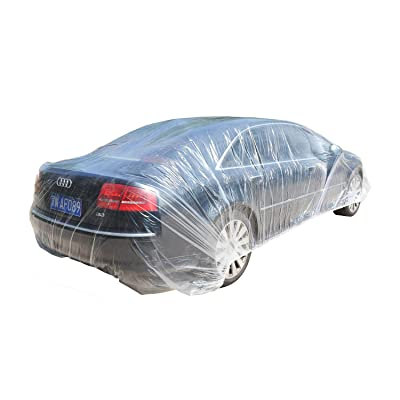 TopSoon Clear Plastic Car Cover with Elastic Band Disposable Car Cover Plastic Auto Cover Waterproof Universal Fit 22-Feet by 12-Feet: Automotive