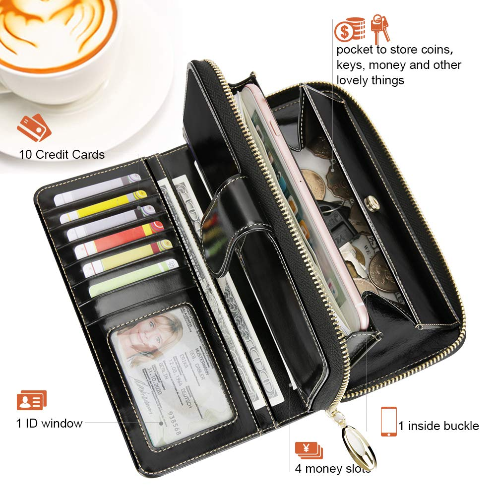Wallets For Women EGRD Womans RFID Blocking Large Capacity Luxury Wax Genuine Leather Clutch Wallet 11 Card Slots 1 Coin Pocket Zipper Phone Case