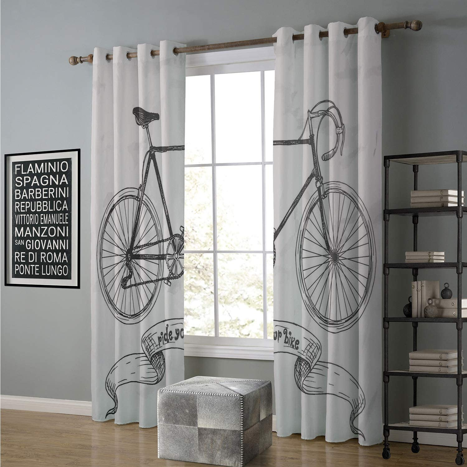 Jinguizi Blackout Curtain Solid Pattern 96 by 96 Inch Bicycle,Ride Your Bike Lettering Nostalgic Mountain Bike Hand Drawn Sketchy,Charcoal Grey White