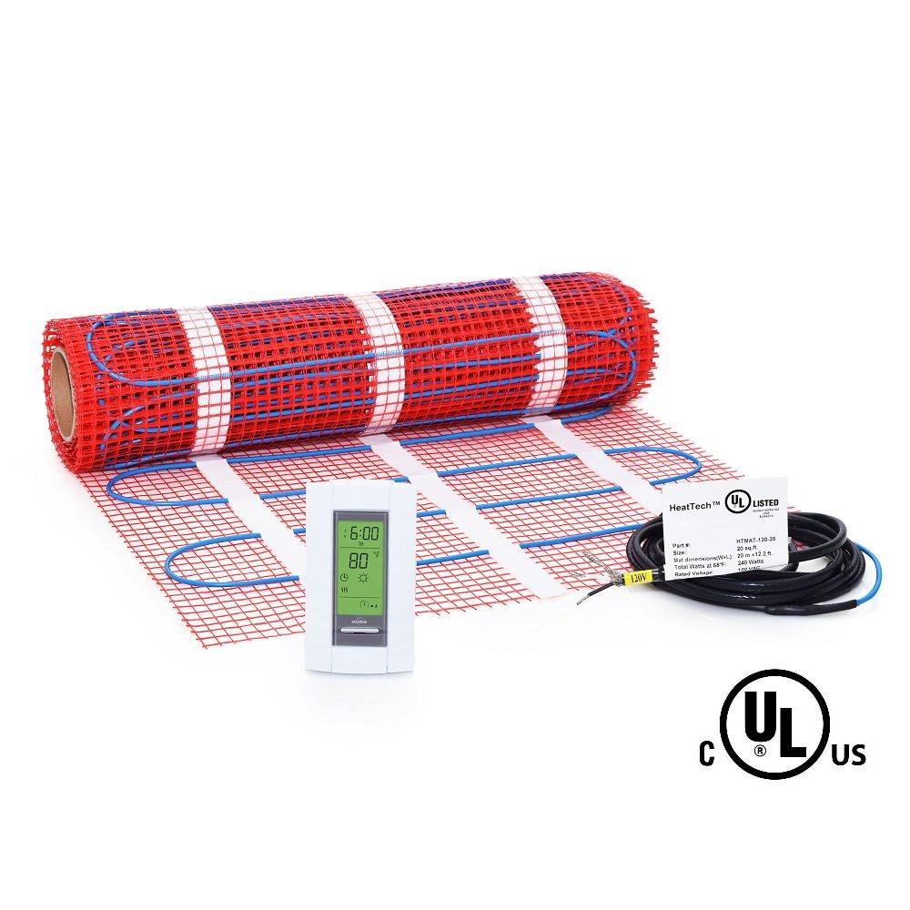 20 Sqft Mat Kit, 120V Electric Radiant Floor Heat Heating System w/ Aube Programmable Floor Sensing Thermostat