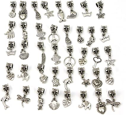 40pcs Mode Argent Tibétain Métal Perles Collier Bracelet Bijoux Diy Pandora Intercalaires Breloque Charms Décor Amazon Fr Cuisine Maison
