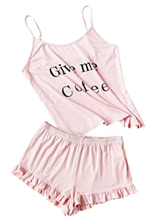 7644699e8c DIDK Women's Letter Print Cami and Shorts Pajama Set at Amazon ...