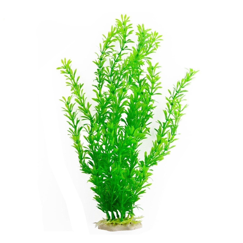 Saim Fluorescent Green Jardin Plastic Emulational Decorative Plant Aquarium Decor Fish Tank Ornament 18 Height
