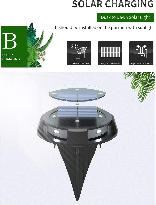 10 luces LED de suelo a prueba de agua con luces laterales Luz b Hangxingdo Luces solares para jard/ín al aire libre luces solares de disco para jard/ín Patio Patio Calzada Camino C/ésped Paquete de 4