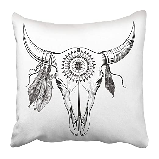 Kinhevao Cojín Decorativo Vaca Negra Toro Cráneo Beige Azteca ...