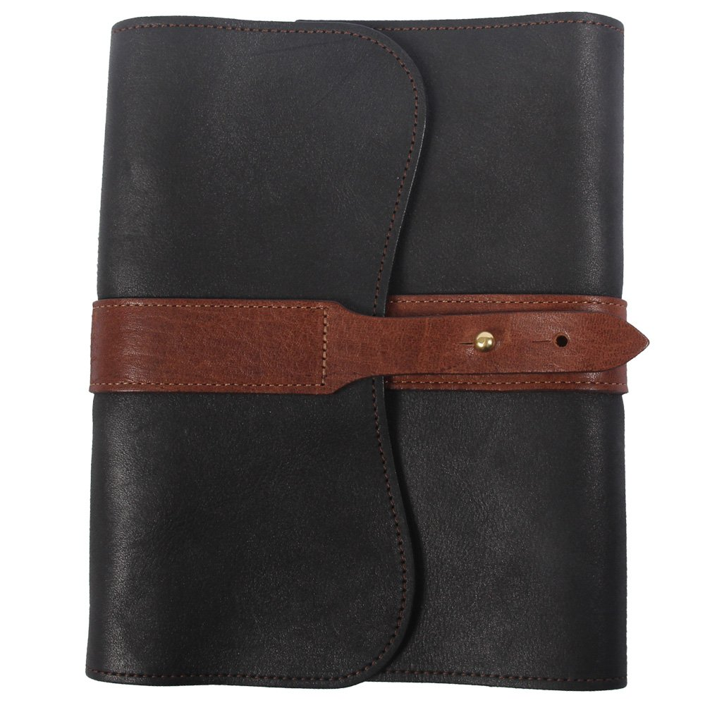 Leather Writing Journal Notebook Black Brown Refillable Unlined Pages
