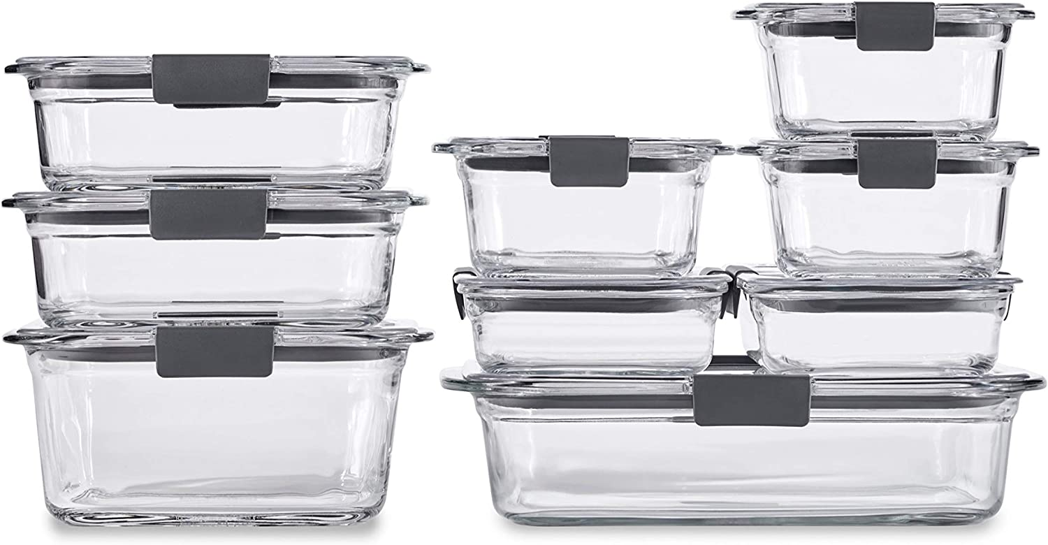 Rubbermaid Brilliance Glass Storage Set of 9 Food Containers with Lids (18 Pieces Total), 9-Pack, Clear