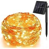 Solar Lichterkette,10M 100 LED Solar Lichterkette,Wasserdicht Kupferdraht lichterketten,Außenbeleuchtung für Garten,Hochzeit,Party-Warmes Weiß