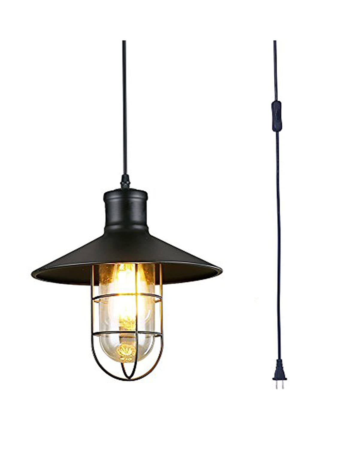 Pendant light plug in industrial barn pendant light hanging light fixture with plug in cord cage farmhouse pendant lighting for kitchen black plug in