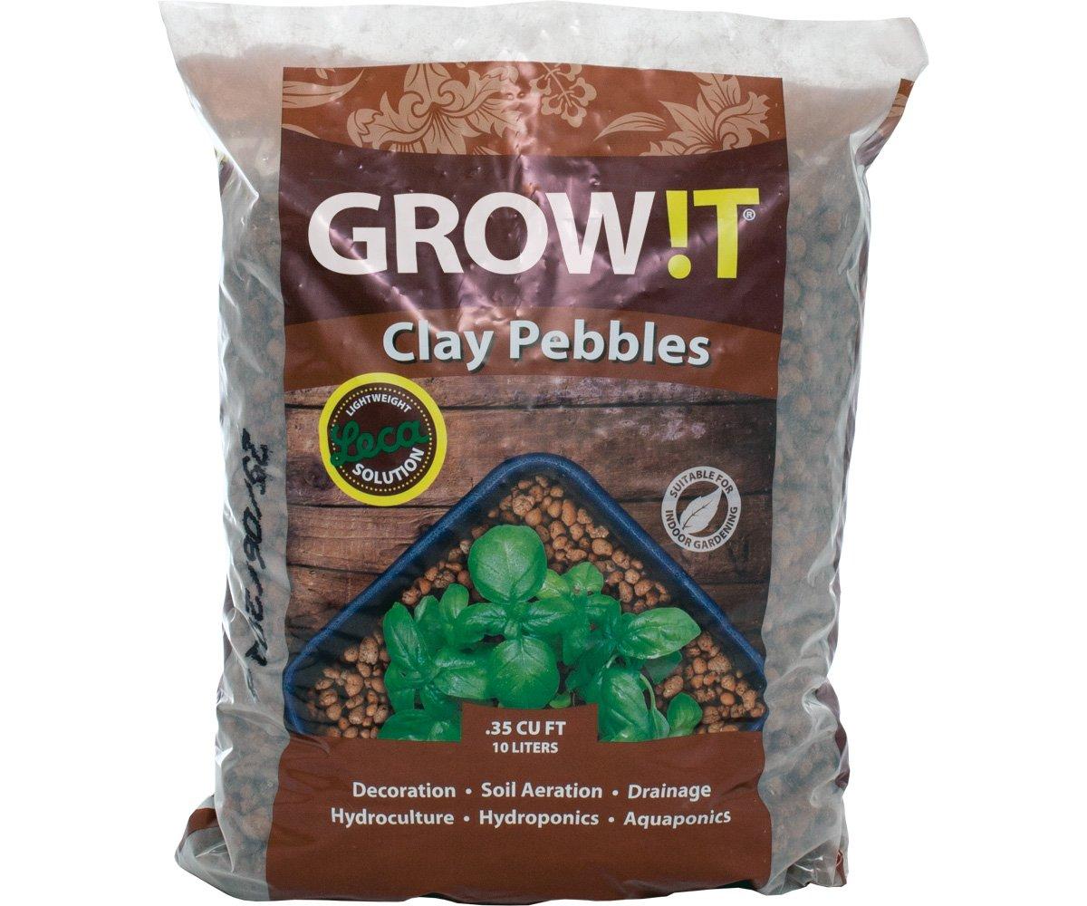 Hydrofarm GROW!T GMC10L Clay Pebbles 10 Liter Bag, 4mm-16mm