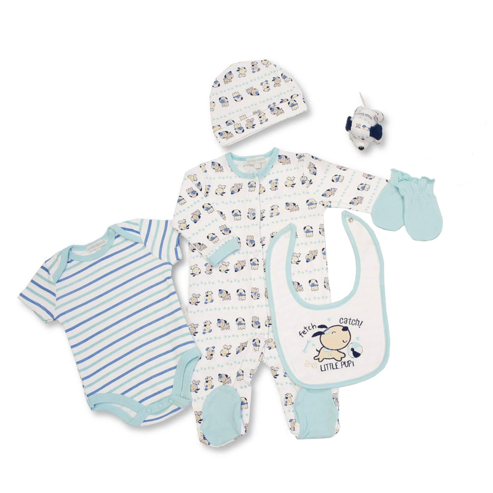Hat and Bib Boys or Girls Cotton Sleepsuit Bodysuit Baby Layette Set Gift Set
