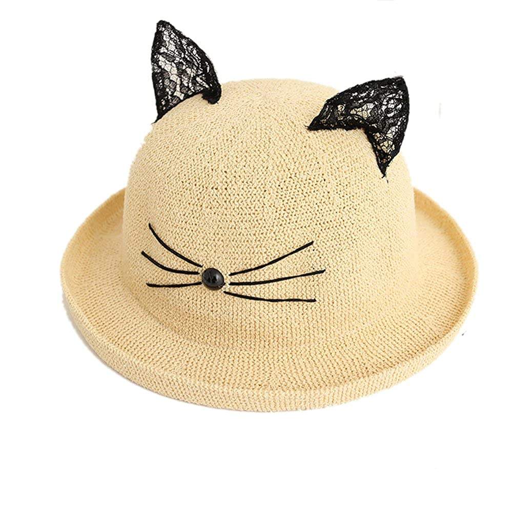 Difly womens girls lace cat ears sun hat roll up wide brim dome curling  beach cap 8e56baa167e7