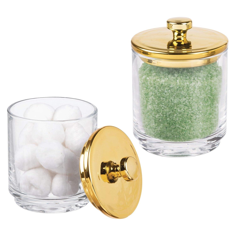 mDesign Juego de 2 organizadores de cosméticos de vidrio – Frasco de cristal con tapa – Mantiene secos productos de algodón, sales y más – Contenedor de vidrio para cosmética – transparente/dorado MetroDecor