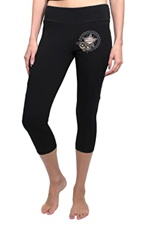 5fe2e95263 Harley-Davidson Womens Flora Gear B&S Star Capri with Quilted Details Black  Leggings (1X