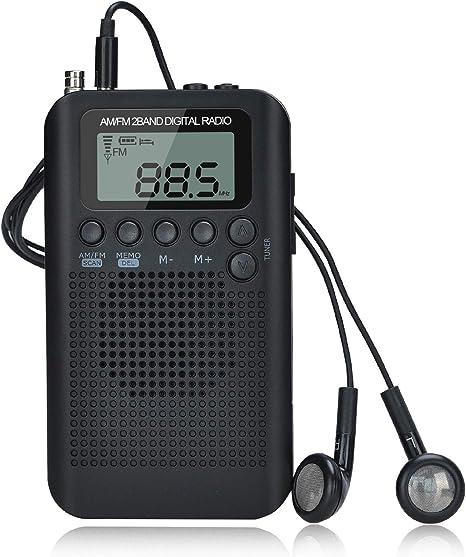 Songway Am/FM Pocket Radio Digital Relojes de Alarma Temporizador de sueño Altavoz Incorporado Radio portátil pequeña con Auricular para Actividades al Aire Libre, Correr, IR de excursión, Viajar: Amazon.es: Electrónica