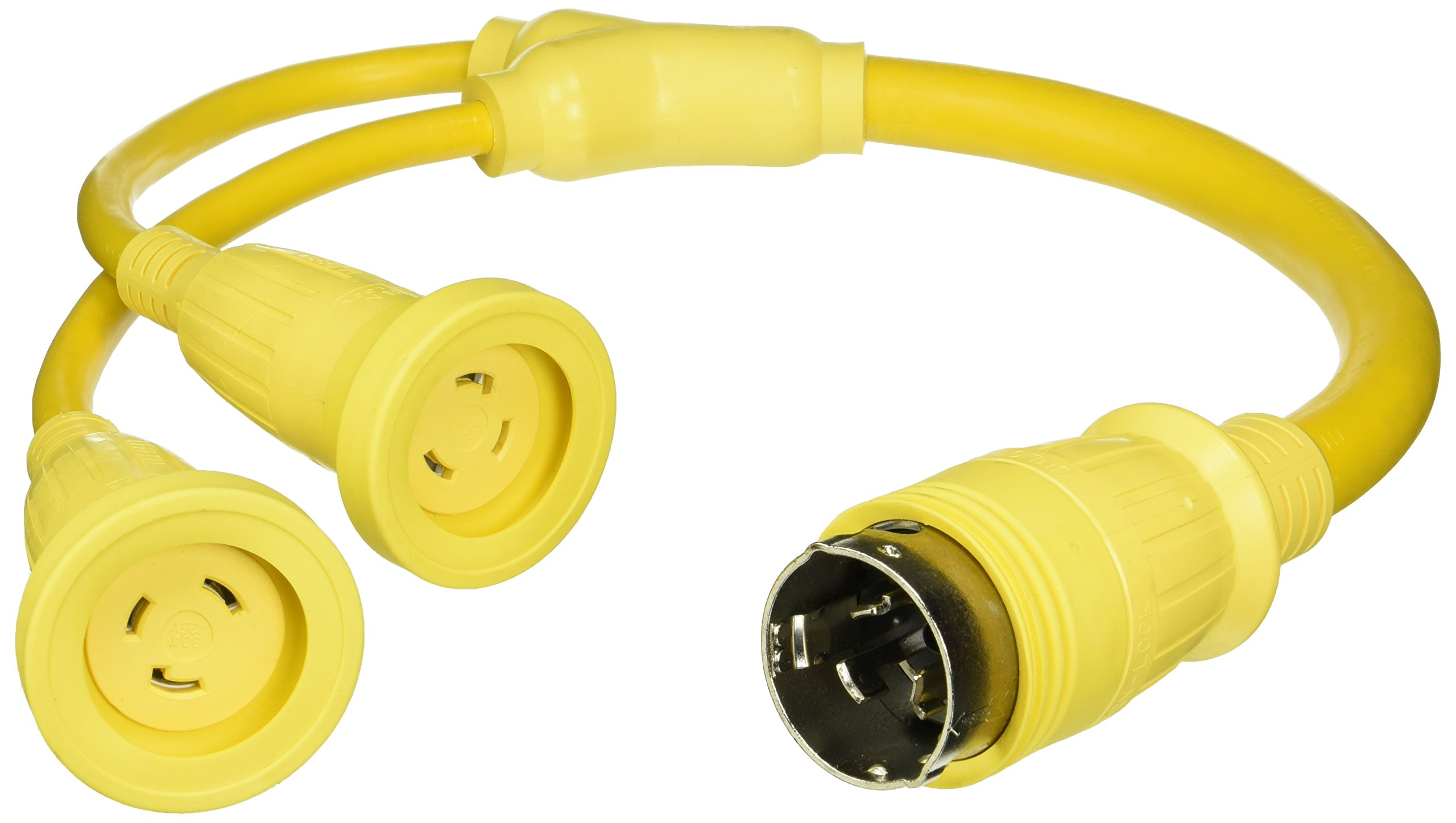 Hubbell Wiring Systems HBL64CM54 Molded Y Adapter, 30A, 125V, 2P, 3W Twist-Lock Female end with 50A, 125/250V, 3P, 4W Twist-Lock Male end, Yellow
