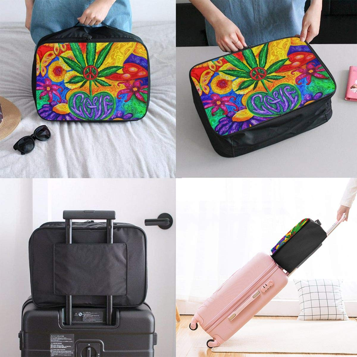 Peace And Love Marijuana Weed Travel Duffel Bag Durable Luggage Organizer For Holiday Gym Storage Bag Weekend Tote Bag-Pack of 1