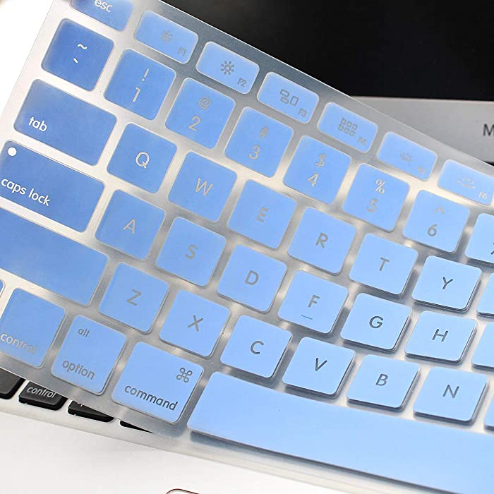Backlit See Through Hollow Out Silicone Keyboard Cover Skin for MacBook Air 13 inch A1369 A1466 & 2015 or Older Versions MacBook Pro 13 15 inch with/Without Retina Display (Hollow Series Light Blue)