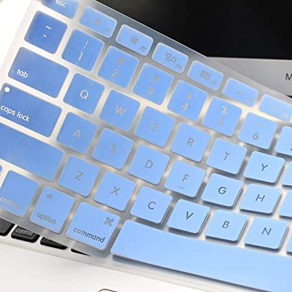 Backlit See Through Hollow Out Silicone Keyboard Cover Skin for MacBook Air 13 inch A1369 A1466 & 2015 or Older Versions MacBook Pro 13 15 inch with/Without ...
