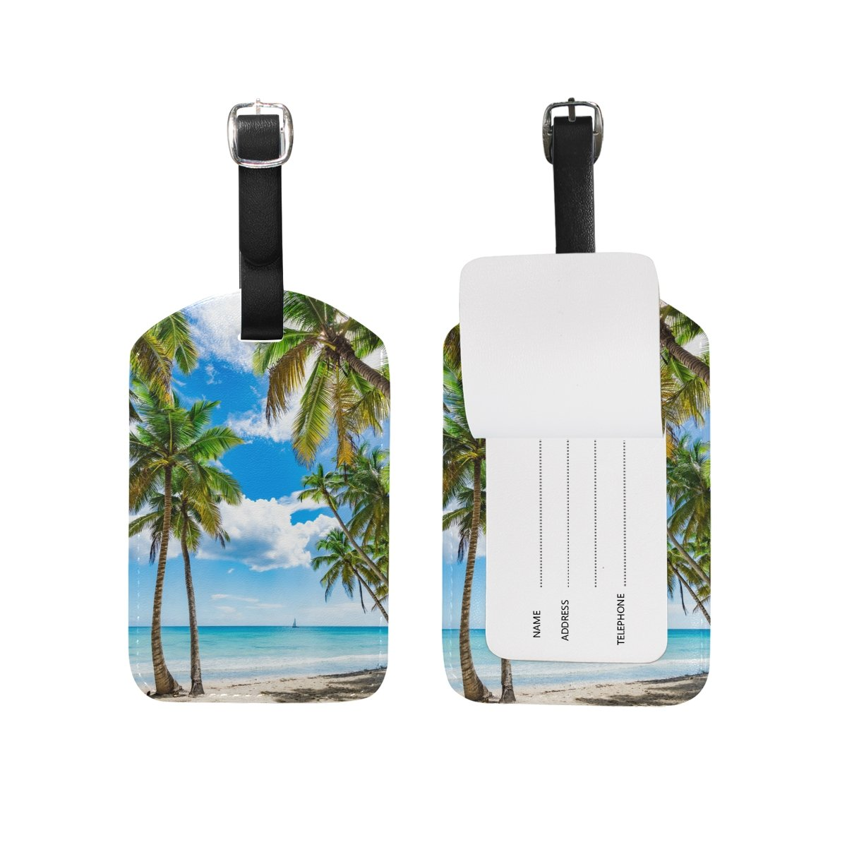 Chen Miranda Tropical Beach Luggage Tag PU Leather Travel Suitcase Label ID Tag Baggage claim tag for Trolley case Kids Bag 1 Piece