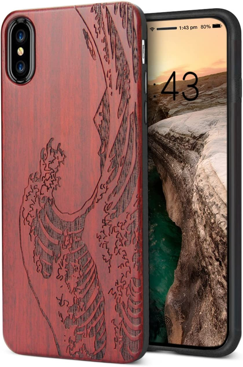 YFWOOD Compatible for iPhone Xs Max Case Wood, Engraved Wooden Wave Pattern Soft Silicone Frame Shock Absorption Drop Proof Bumper Protective Case for iPhone Xs Max (2018)