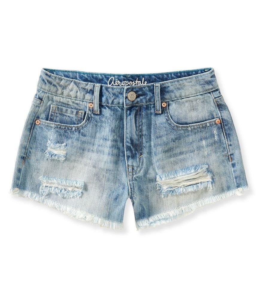 Aeropostale Womens High Rise Casual Denim Shorts Blue 00 - Juniors
