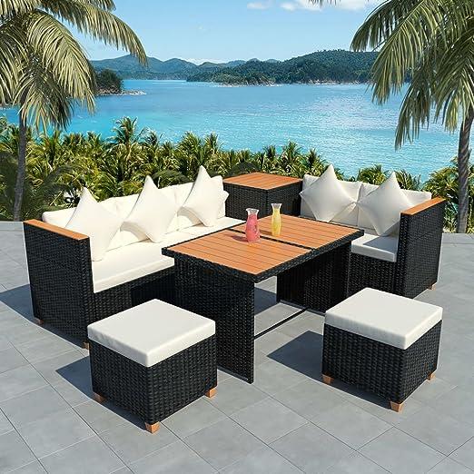 Furnituredeals mesa y sillas plegables para exterior Muebles de jardin 22 piezas de ratan sintetico y WPC negro conjunto de mesa y sillas plegables: Amazon.es: Jardín